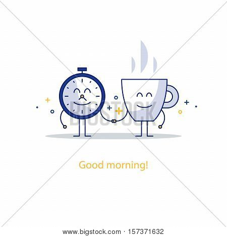 Time clock and cup of tea or coffee in the morning. Wake up hour, lunch time. Happy hour concept. Flat design vector illustration