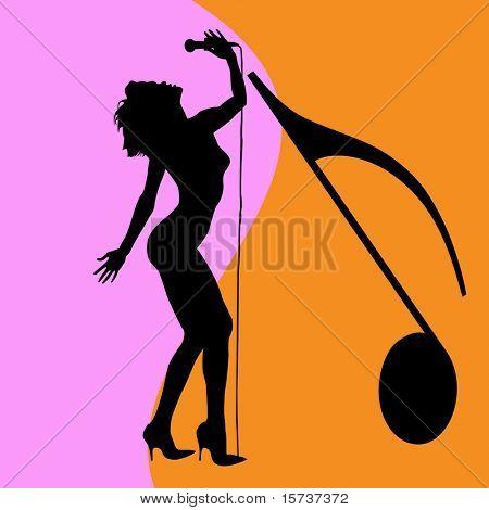 singing woman silhouette, disco singer