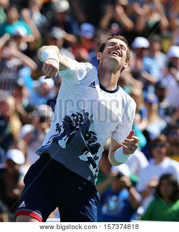 RIO DE JANEIRO, BRAZIL - AUGUST 13, 2016: Olympic champion Andy Murray of Great Britain celebrates victory after men's singles semifinal of the Rio 2016 Olympic Games at the Olympic Tennis Centre