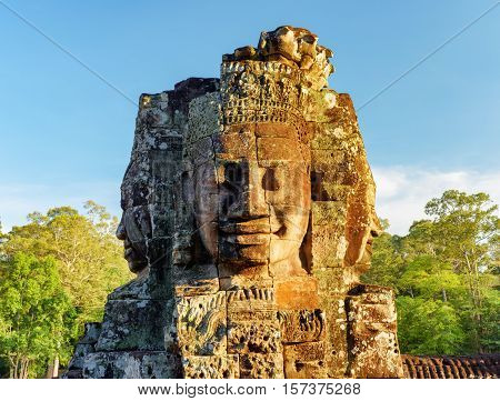 Enigmatic Face-tower Of Bayon Temple In Angkor Thom, Cambodia