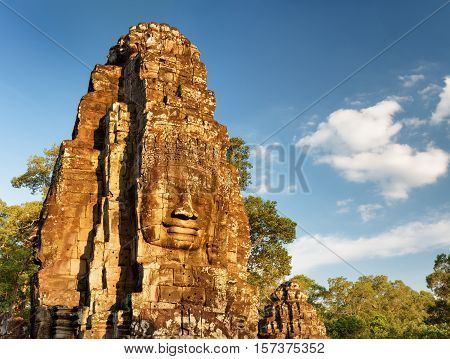 Mysterious Face-tower Of Bayon Temple In Angkor Thom, Cambodia