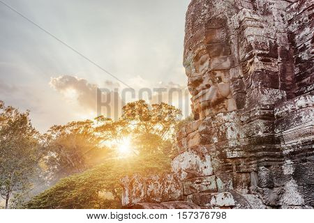 Enigmatic Giant Stone Face Of Ancient Bayon Temple, Cambodia