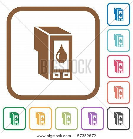 Ink cartridge simple icons in color rounded square frames on white background
