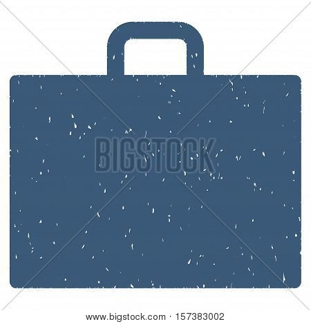 Case grainy textured icon for overlay watermark stamps. Flat symbol with scratched texture. Dotted vector blue ink rubber seal stamp with grunge design on a white background.