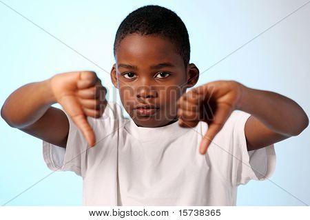 Boy Thumbs Down Gesture