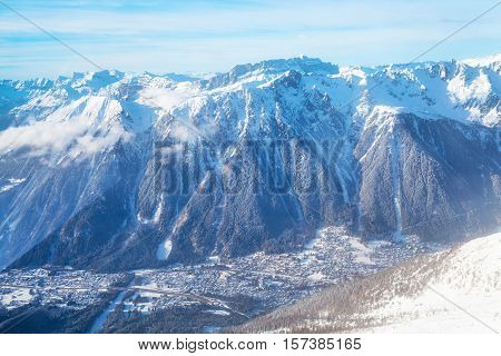 Mountain scape and Chamonix aerial view from the station of Aiguille du Midi , France
