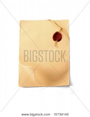 Parchment scroll with sealing wax isolated on white background