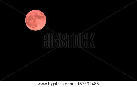 Red Moon In The Dark Sky On A Mid Night