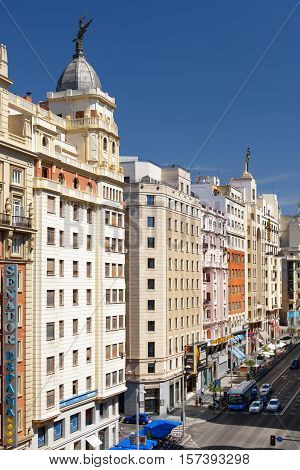 View Of Gran Via Is Known As The Spanish Broadway. Madrid, Spain