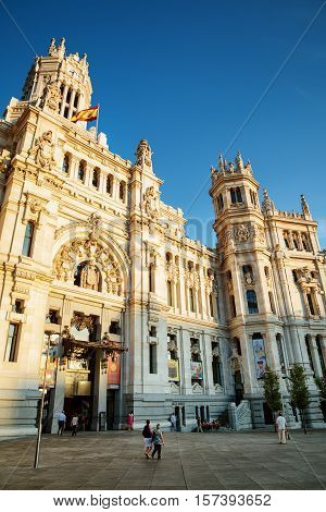 Side View Of Main Entrance To The Cybele Palace In Madrid, Spain