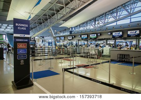 Osaka, Japan - November 2016: ANA, All Nippon Airways, check-in counter at  Kansai International Airport (KIX), Osaka, Japan. ANA, All Nippon Airways, is the largest airline in Japan. Kansai Airport is one of the busiest airports in Japan and an Asian hub