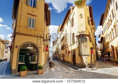 Crossroad At Historic Center Of Florence, Tuscany, Italy
