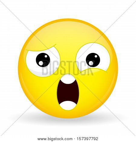 What emoji. Shock emotion. Wtf emoticon. Cartoon style. Vector illustration smile icon.