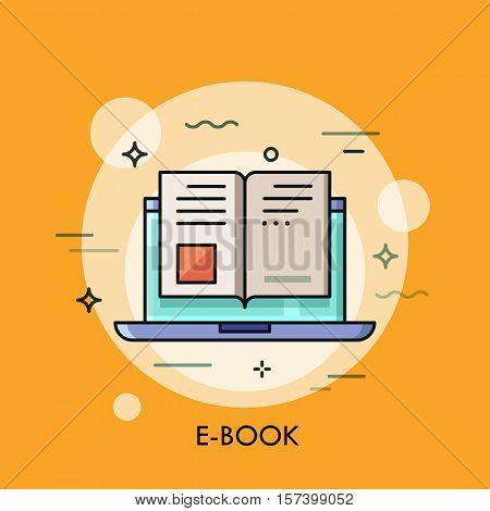 Electronic book icon, digital reading concept, internet learning, e-book library, online magazine. Vector illustration in thin line style for website, banner, header, advertisement, presentation.