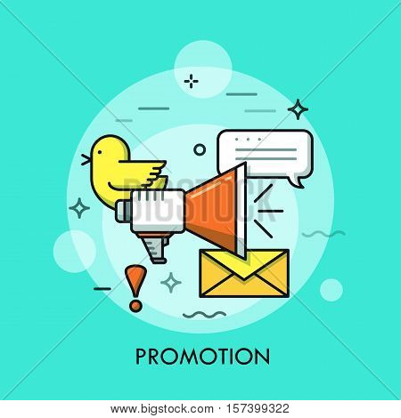 Internet marketing concept, business advertisement icon. Loudspeaker and speech bubble, announcement and promotion message. Vector illustration in thin line style for website, banner, header.
