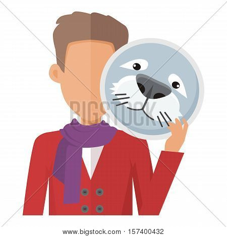 Man character in red sweater with seal mask in hand flat vector illustration isolated on white background. Masquerade animal clothing and party costume. Psychological portrait and hidden personality.