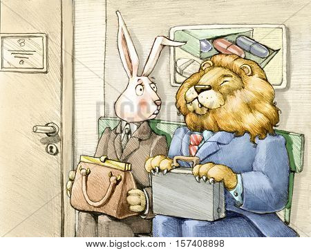 two sales agents are waiting to meet a doctor one is a rabbit one is a lion