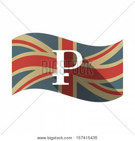 Isolated Uk Flag With A Ruble Sign