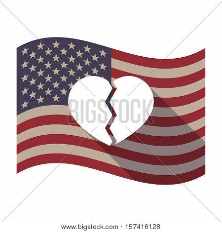 Long Shadow Usa Flag With A Broken Heart