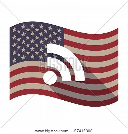 Long Shadow Usa Flag With An Rss Sign