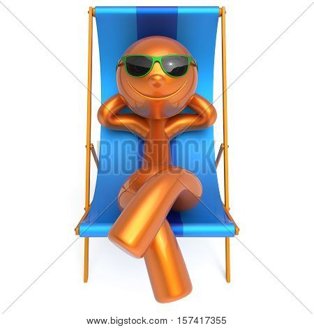 Man smiley resting beach deck chair summer vacation daydreaming relaxing cartoon character chilling stylized sunglasses person sun lounger tourist sunbathe outdoor travel destination. 3d illustration