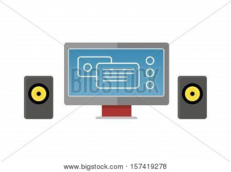 Gray computer monitor with colour diagram on screen. Monitor with audio speakers. Concept of online business, commerce statistics, business analysis, information. Isolated object on white background