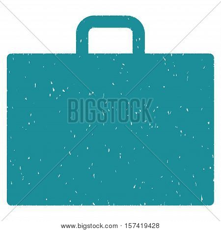 Case grainy textured icon for overlay watermark stamps. Flat symbol with unclean texture. Dotted vector soft blue ink rubber seal stamp with grunge design on a white background.