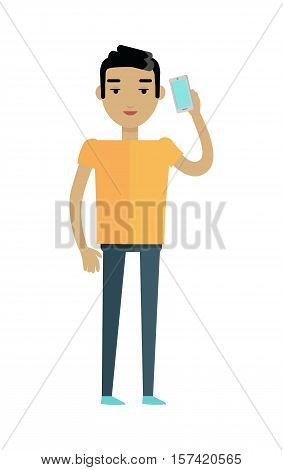 Young european man in orange t-shirt and black trousers speaking on telephone. Caucasian handsome boy. Attractive teenager gentleman in casual clothes. Part of series of people of the world. Vector