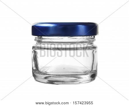 Short Glass Bottle Blue Cap isolated on white background clipping path
