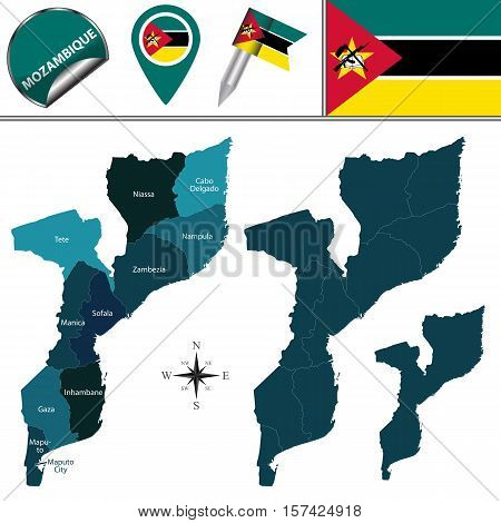 Map Of Mozambique With Named Provinces