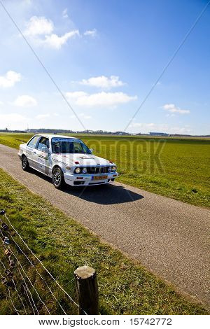 Rally Car Racing In Beautiful Dutch Landscape