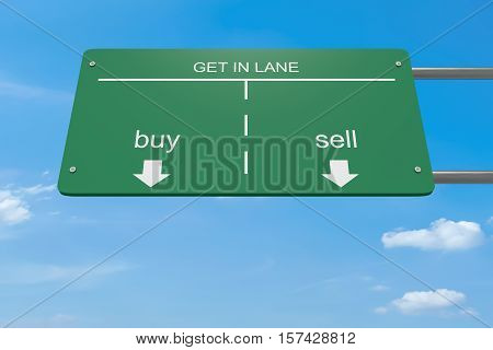 Get In Lane Business Concept: Buy Or Sell Road Sign 3d illustration