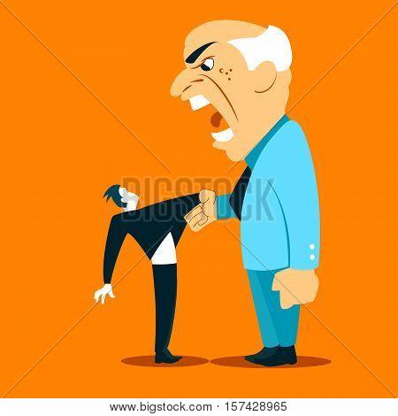 The chief yells at a subordinate. Vector illustration