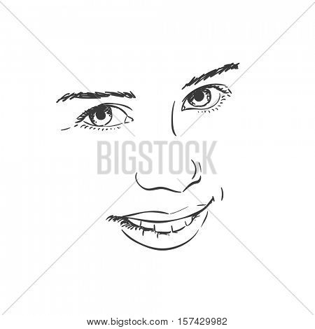 Facial features of beautiful young girl, Vector sketch Hand drawn illustration