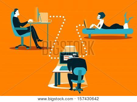 Dangerous correspondence. Information security. Carefully hacker Vector illustration
