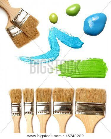 paintbrushes on white background. oil paint