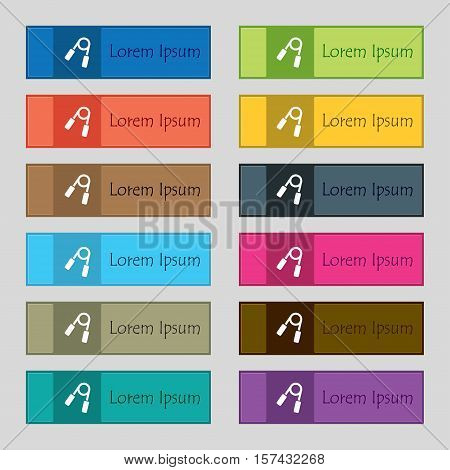 Hand Grip Trainer Icon Sign. Set Of Twelve Rectangular, Colorful, Beautiful, High-quality Buttons Fo