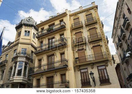 Valencia (Spain) exterior of residential buildings with balconies