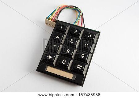 black numeric keypad isolated on white background