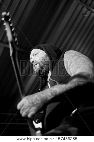 SOUTHAMPTON, UK, October 28 2016: Terry Corso, guitarist with American band Alien Ant Farm performing at the Engine Rooms, Southampton, Hampshire, UK