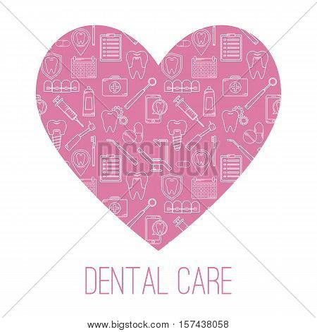 Dental Care Symbols In The Shape Of Heart. Design Template For Brochures, Flyers, Web Sites.