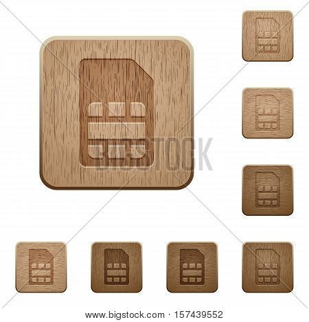 SIM card icons in carved wooden button styles