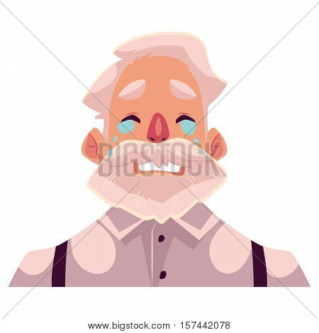 Grey haired old man face, crying facial expression, cartoon vector illustrations isolated on white background. Old man, grandfather emoji emoji crying, shedding tears, sad, heart broken, in grief.