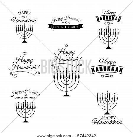 Set of hand drawn menorah with text. Jewish holiday Hanukkah. Vector illustration
