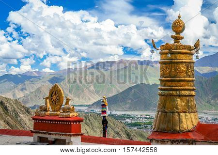 View of the golden deer and dharma wheel  the wheel of life  at the Jokhang Temple in Lhasa, Tibet