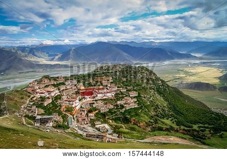 Aerial view of the Gyantse monastery near Lhasa in central Tibet