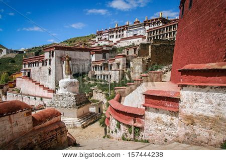 View of the Jokhang monastery near Lhasa in central Tibet.