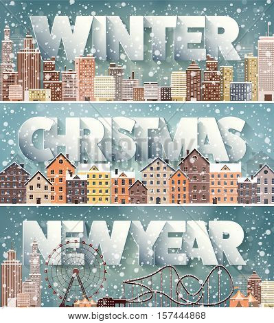 Winter cityscape.City silhouettes.Town skyline. Panorama. Midtown houses.New year, christmas.Holidays in December, January, February.