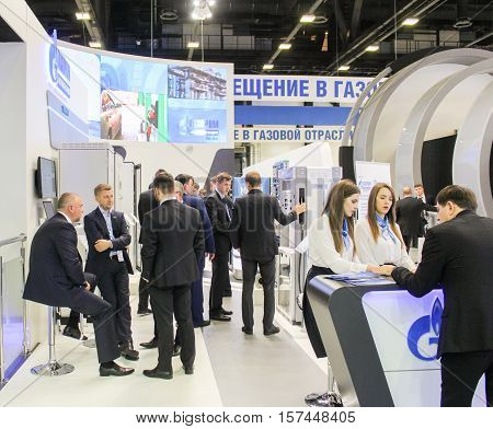 St. Petersburg, Russia - 5 October, Group of business people at Gas Forum, 5 October, 2016. Petersburg Gas Forum which takes place in Expoforum.