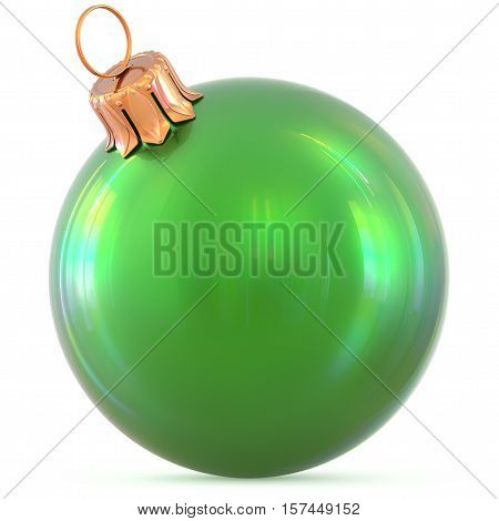 Christmas ball New Year's Eve decoration green shiny bauble wintertime hanging adornment souvenir. Traditional ornament happy winter holidays Happy Merry Xmas symbol blank classic. 3d illustration
